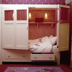 "I am not one of those ""let's make the bed look perfect"" kind of people.  When I try, it just does not look cute.  At best, it looks boring.  I can arrange flowers and decorate at Christmas but I am not a bed maker.  I can, however, close a cabinet door!  I say, let's do this!!!  --->not your average bed in a cupboard<---"