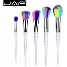 JAF 5pcs Unicorn Makeup Brush Set Colorful Synthetic Hair Spiral... ❤ liked on Polyvore featuring beauty products, makeup, makeup tools and makeup brushes