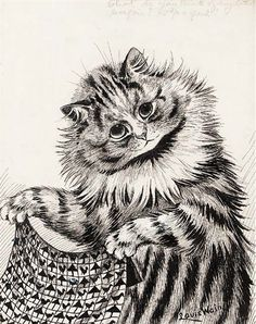 """""""What do you think of my latest bargain? 5¾ a yard!"""" print, United Kingdom, date unknown, by Louis Wain."""
