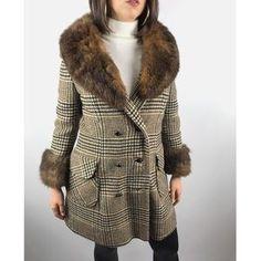 Vintage Jackets & Coats - wool tweed mod coat with Muskrat fur trim Vintage Fur, Vintage Jacket, Vintage Ladies, Fur Trim Coat, Wool Coat, 1960s Style, 1960s Fashion, Red Satin, Fur Collars