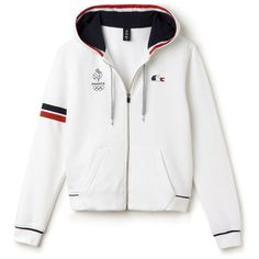 Sweatshirt à capuche Lacoste SPORT en molleton avec marquage France (145 CAD) ❤ liked on Polyvore featuring tops, hoodies, sweatshirts, lacoste, white top, lacoste sweatshirt and white sweatshirt