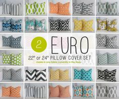 EURO - euro sham pillow covers for euro throw pillows 22x22 or 24x24