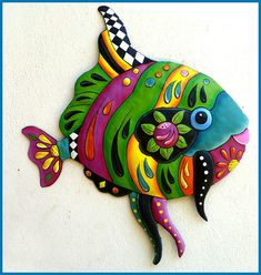 Tropical Fish Metal Wall Art - Metal Wall Hanging - Brightly Hand Painted Metal Art, Garden Decor - Tropical Poolside Decor - J-0450-GR