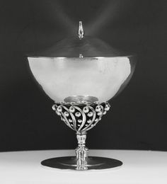 Johan Rohde (Danish 1856-1935), Georg Jensen Silversmithy, Covered Compote, Silver.