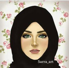 Sarra Art, Hijab Drawing, Girly M, Islamic Cartoon, Anime Muslim, Hijab Cartoon, Face Sketch, Sketch Art, Lovely Girl Image