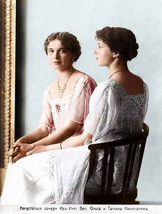 The eldest Romanov Grand Duchesses, Olga and Tatiana.