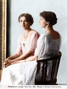 Grand Duchesses Olga Nikolaevna Romanova (15 Nov 1895-17 Jul 1918) & Tatiana Nikolaevna Romanova (10 Jun 1897-17 Jul 1918). The 2 oldest children of Tsar Nicholas II Alexandrovich Romanov (Nikolai II) (1868-1918) & wife Alix-Alexandra(Alix Victoria Helena Louise Beatrice) (Alexandra Feodorovna Romanova) (1872-1918) Hesse, Germany.