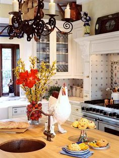 Kitchens with ceramic roosters just DO IT for me.
