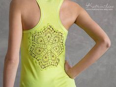 Lime green Tank Top with upcycled vintage crochet by katrinshine