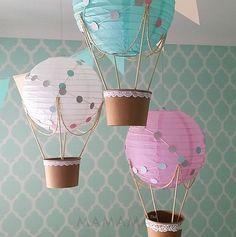 Whimsical Hot Air Balloon DIY kit is great for decorating your childs nursery or playroom. The kit contains all the materials needed for 3 whimsical