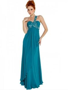 Nectarean A-line One Shoulder Sleeveless Floor-length Chiffon Formal Dress with Applique