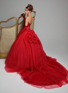 """Emile"" long strapless red evening dress with train from Hollywood Dreams."