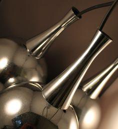 70er Jahre Deckenlampe Lampe Kugellampe Hängelampe 70s lamp Chrome Space Age