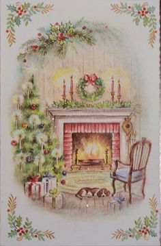 Indoor and Outdoor Christmas Decorations Christmas Fireplace, Old Christmas, Christmas Scenes, Victorian Christmas, Christmas Glitter, 1950s Christmas, Christmas Feeling, Retro Christmas Decorations, Vintage Christmas Images