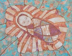 Infant Jesus, Painted Paper Mosaic 2015, created with the Kindergarten class of Our Lady  of Victory school in Northville, Mi.  Prints,framed prints, and cards are available on FineArtAmerica.com