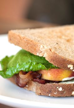 Try this twist on the classic BLT: Bacon, Arugula, and Peach!