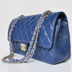 Chanel Shoulder Crossbody 1113 Goldzipper Blue