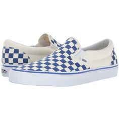 Vans Classic Slip-On ((Primary Check) True Blue/White) Skate Shoes ($55) ❤ liked on Polyvore featuring shoes, sneakers, leather boat shoes, blue leather sneakers, white sneakers, vans sneakers and white boat shoes