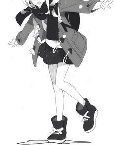 monochrome anime manga girl winter jacket scarf boots school uniform