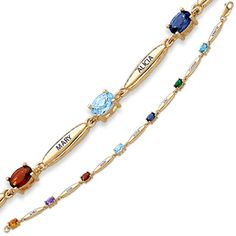 Gold Birthstone Bracelet for Mom with Names - add up to 7 names and birthstones.
