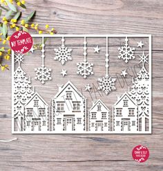 SVG / PDF Christmas Scene Design - Papercutting Template to print and cut yourself (Commercial Use) Christmas Scenes, Noel Christmas, Christmas Paper, All Things Christmas, Xmas, 3d Laser Printer, Paper Cutting Templates, Diy And Crafts, Paper Crafts