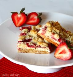 Strawberries and Cream Bars. A yummy bar that starts with a cake mix!