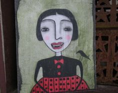 Primitive Vampire Folk Art Primitive Art Hand Painted OOAK Original