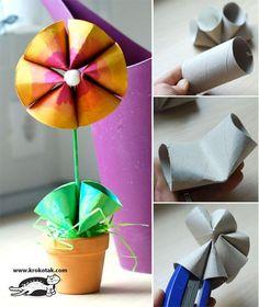 Flores de carton reciclado! - Manualidades Gratis