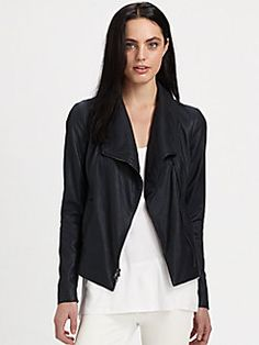Vince - Matte Leather Scuba Jacket - nice drape to this one.