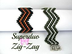 DIY Jewelry: Tutorial Superduo zig zag Bracelet Pattern. Original Beadwork Pattern by Butterf