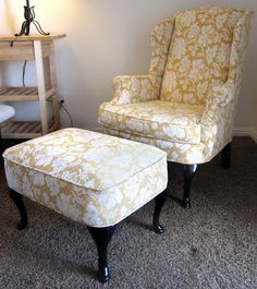All Things Campbell: DIY Torture (i.e. Reupholstering A Wingback Chair,  Part 2)