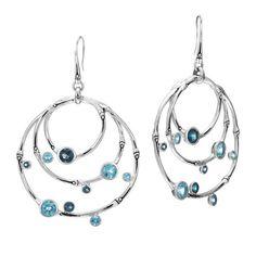 Fink's Jewelers - John Hardy Bamboo Orbital Dangle Earrings with Blue Topaz, $795.00 (http://finksjewelers.com/john-hardy-bamboo-orbital-dangle-earrings-with-blue-topaz/)
