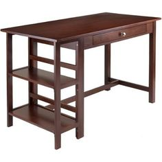 Velda Writing Desk with 2 Shelves, Walnut Home Office or the W orkplace