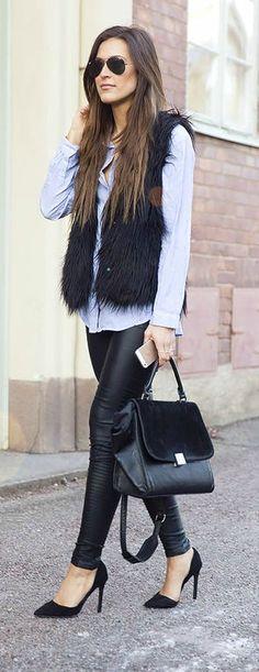 Faux fur + leather.
