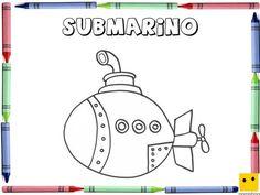 Dibujo para colorear con los niños de un submarino