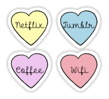 My True Love!  Valentine's Day Heart Stickers - Netflix, Coffee, Tumblr, & WiFi Pastel
