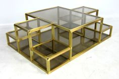 Large Multi-Level Brass Cocktail Table