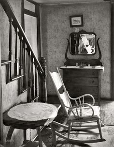 """Hard Times: July 1935. """"Interior of unemployed man's house. Morgantown, West Virginia."""" Large-format nitrate negative by Walker Evans for the FSA."""
