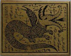 Iran Persian Mysterious Sciences Charm Talisman Dragon White Magic Brass Plate