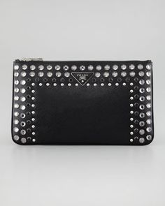 Vernice Saffiano Crystal-Studded Clutch Bag, Nero by Prada at Neiman Marcus.