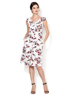 Cotton Sparrow Print Cap Sleeve Dress by Carolina Herrera at Gilt