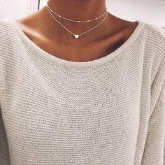 Silver Heart Chain Choker Chokers - Stargaze Jewelry