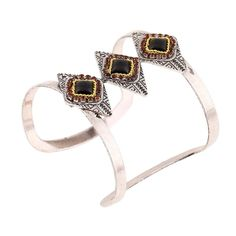 Women's Vintage Bohemian Ethnic Style Ancient Silver Plated Cuff Bracelets Bangles with  Trio Black Onyx Resins & CZ Crystals Surroundings - A Jewelry Accessory for Her.  #Cuff #Bracelet #Bangles #Hot #New #Bohemian #Indian #Turkish #Mosaic #Style #Women's #Jewelry