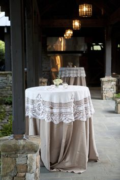 Burlap and lace tablecloth for cocktail tables Wedding Events, Our Wedding, Dream Wedding, Weddings, Wedding Things, Wedding Table, Rustic Wedding, Lace Wedding, Wedding Burlap