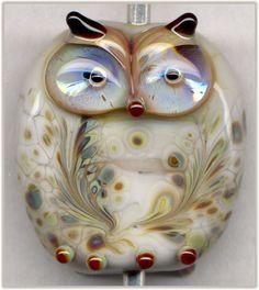 Pearl Gray Raku Owl Focal Handmade Glass Lampwork Bead Pendant SRA W79