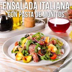 Prepara esta deliciosa ensalada de pasta de moñitos con ingredientes de la cocina mediterranea, sabores directos desde Italia que harán que cada bocado sea una experiencia inolvidable.