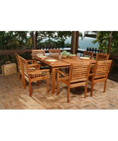 @Overstock - Comfortable dining set is an ideal addition to any patio decor  Dining set features square table with eight chairs  Add a casual style to your patio with this outdoor dining sethttp://www.overstock.com/Home-Garden/Eucalyptus-9-piece-Patio-Dining-Set/2543891/product.html?CID=214117 $1,269.99
