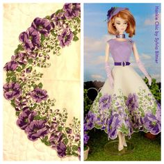 Sleeveless dress with round neckline and circle skirt. Bodice is made from vintage lavender linen hankie and has attached brooch. Skirt is made from a