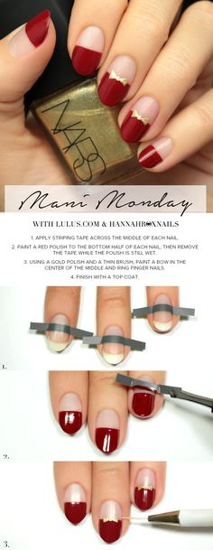 Mani Monday: Red and Gold Bow Nail Tutorial at LuLus.com!