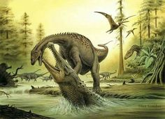 *Sarcosuchus attack. Art by Tibor Szendrei